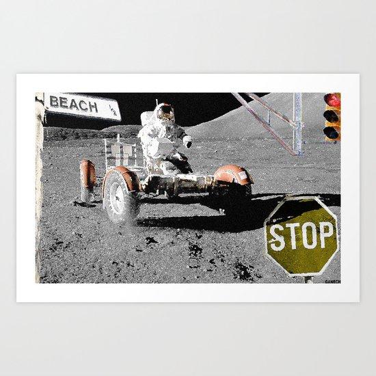 """STOP"" ON THE MOON Art Print"