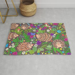 Hegehog fall forest, rainbow flowers and robins Rug