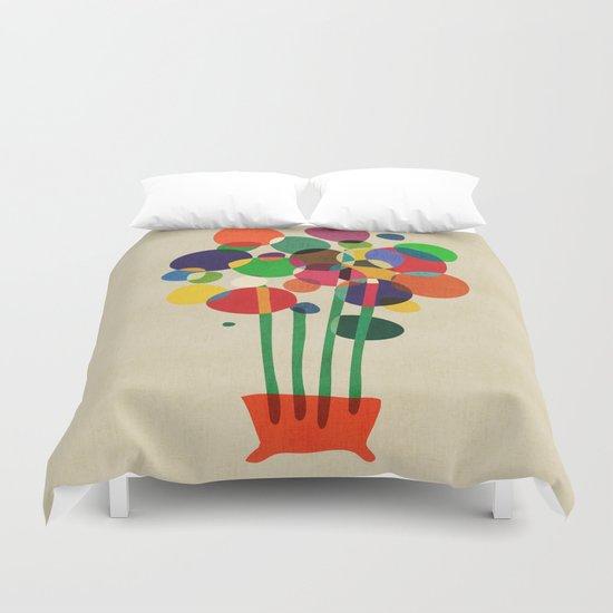 Happy flowers in the vase Duvet Cover