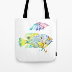 Fishy Fish - Original Watercolor of Yellow Mask Angel Fish with Umbrella Tote Bag