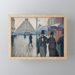 Paris Street; Rainy Day 1877 by Gustave Caillebotte  (French, 1848-1894) Framed Mini Art Print