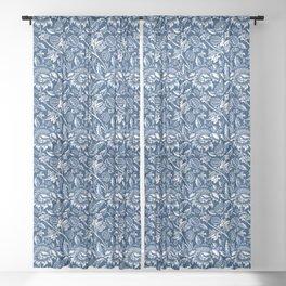 William Morris Sunflowers, Dark Blue and White Sheer Curtain