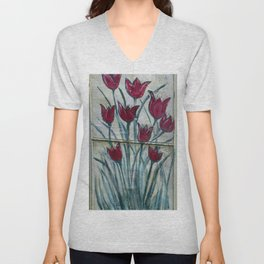 Red Tulips half of the Garden Screen Art Unisex V-Neck