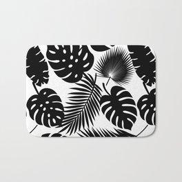 Tropical Leaves - Black on White Bath Mat
