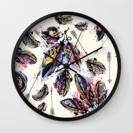 Be wild. Boho watercolor feathers. Fashion Wall Clock