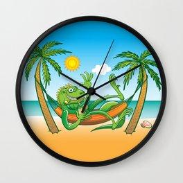 Lazy Iguana Summer on the Beach Wall Clock