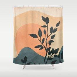 Orange Rising Sun Shower Curtain
