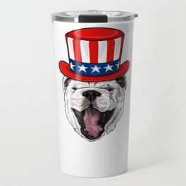 Bulldog 4th Of July Travel Mug