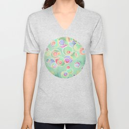 Iridescent Bubbles - Pastel Abstract Painting  Unisex V-Neck