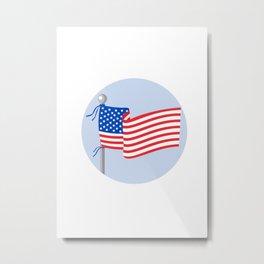 USA Flag Stars and Stripes on Flagpole Circle Cartoon Metal Print