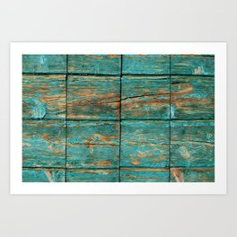 Rustic Teal Boards (Color) Art Print