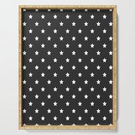 White stars pattern on black background Serving Tray