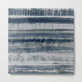 Expressive Indigo Watercolor Stripe Metal Print