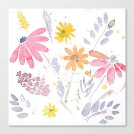 Wild Bohemian Watercolor Flowers Canvas Print