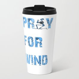 Kiteboarding Humor Kneeling Skeleton Praying For Wind Travel Mug