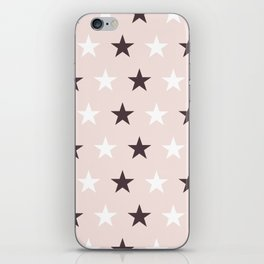 Deep purple and white stars on pale pink iPhone Skin