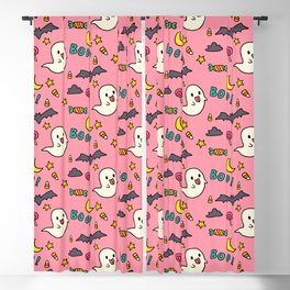 Happy Halloween ghosts, bats, boo and sweets pattern Blackout Curtain