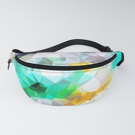 psychedelic geometric triangle polygon pattern abstract background in green blue yellow Fanny Pack