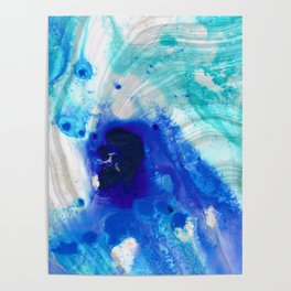 Modern Abstract Art - Blue Marble by Sharon Cummings Poster
