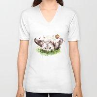 panda V-neck T-shirts featuring Panda by Anna Shell