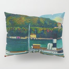 Jetty on Lake Iseo, Lombardy, Italy landsapce painting by Piero Marussig Pillow Sham