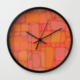 Organic Layered Bricks in Berry & Citrus Hues (pattern) Wall Clock