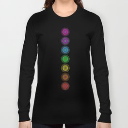 Colorful Rainbow Chakra Mandala , Yoga & Meditation Seven Sacred Mandalas Flower Painting Long Sleeve T-shirt