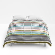 grey and colored stripes Comforters