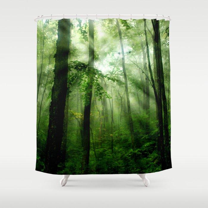 joyful forest shower curtain by naturesbeauty