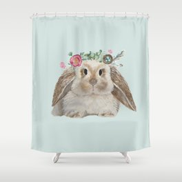 Spring Bunny with Floral Crown Shower Curtain