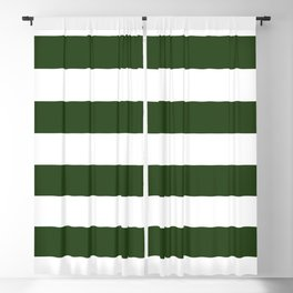 Large Dark Forest Green and White Cabana Tent Stripes Blackout Curtain
