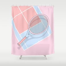 Hold my tennis racket Shower Curtain