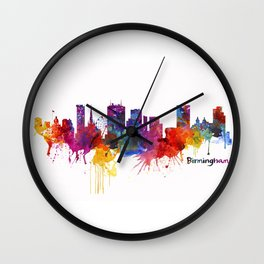 Birmingham Watercolor Skyline Wall Clock