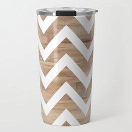 woodgrain cheveron Travel Mug