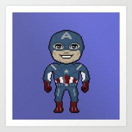 Pixelated Heroes Capt. America Super Hero Art Print