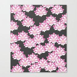Lotus pattern on dark gray Canvas Print