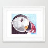 puffin Framed Art Prints featuring Puffin by Art by Frydendal