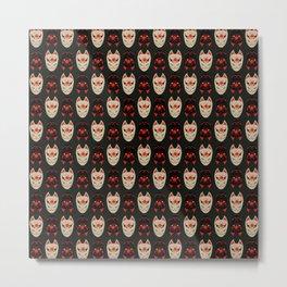 "Japanese Fox Mask ""Good and Evil"" 2 Metal Print"