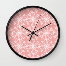 Pink Flower Grid Pattern Wall Clock