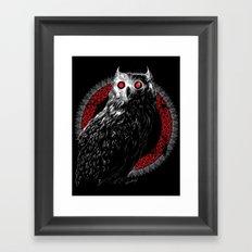 Midnight Owl - Red Framed Art Print