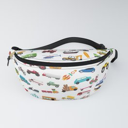 Little Boy Things That Move Vehicle Cars Pattern for Kids Fanny Pack