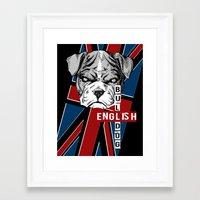 english bulldog Framed Art Prints featuring English Bulldog by Det Tidkun