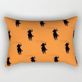 Cowgirl Roper Silhouette Pattern Rectangular Pillow