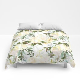 Modern yellow ivory green hand painted roses floral Comforters