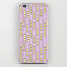 Lavender Purple Circles And Triangles With White Star Bursts iPhone Skin