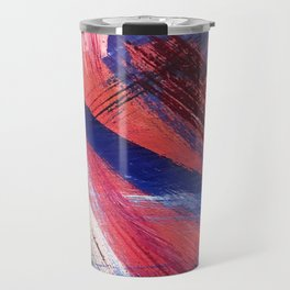 Los Angeles: A vibrant, abstract piece in reds and blues by Alyssa Hamilton Art Travel Mug