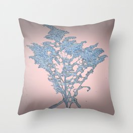 Dried Flower Arrangement in Pink and Blue Throw Pillow