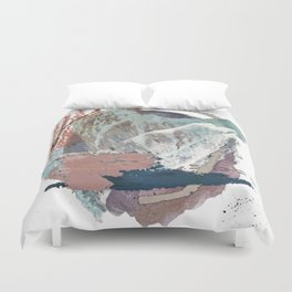 In the Clouds: a minimal mixed media piece in blues, pinks, white, and purple Duvet Cover