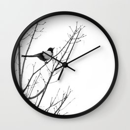 Magpie in the trees Wall Clock
