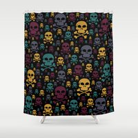skulls Shower Curtains featuring Skulls by Alice Gosling